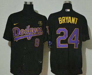 Men's Los Angeles Dodgers #8 #24 Kobe Bryant Black Purple with KB Patch Stitched MLB Cool Base Nike Baseball Jersey