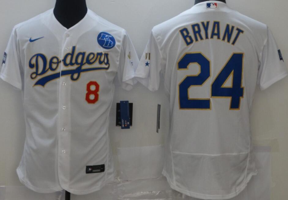 Men's Los Angeles Dodgers #8 #24 Kobe Bryant White with Gold 2021 Gold Program Nike Flex Base with KB Patch Stitched Baseball Jerseys