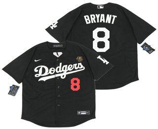 Men's Los Angeles Dodgers #8 Kobe Bryant Black with KB Patch Stitched MLB Cool Base Nike Baseball Jersey