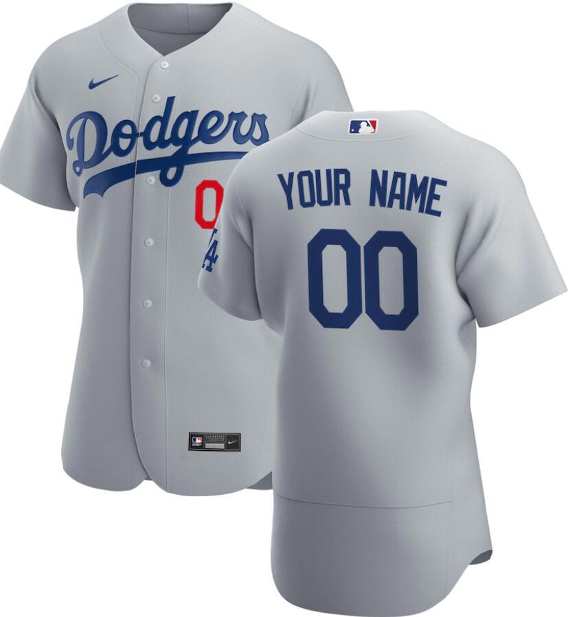 Men's Los Angeles Dodgers Custom Gray Alternate Nike Flex Base Stitched MLB Baseball Jersey