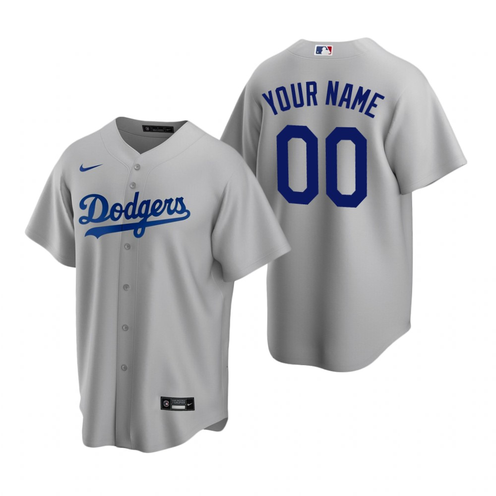 Men's Los Angeles Dodgers Custom Nike Gray Stitched MLB Cool Base Jersey