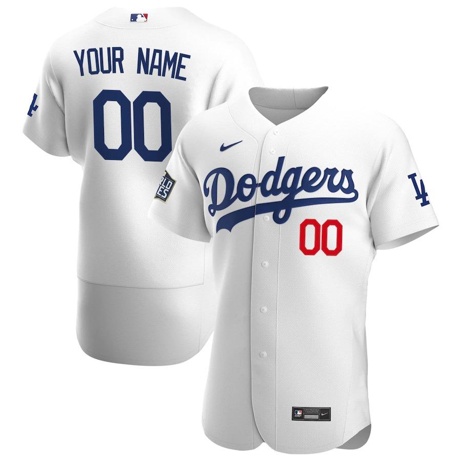 Men's Los Angeles Dodgers Custom White Home Nike Flex Base 2020 World Series Bound MLB Baseball Jersey