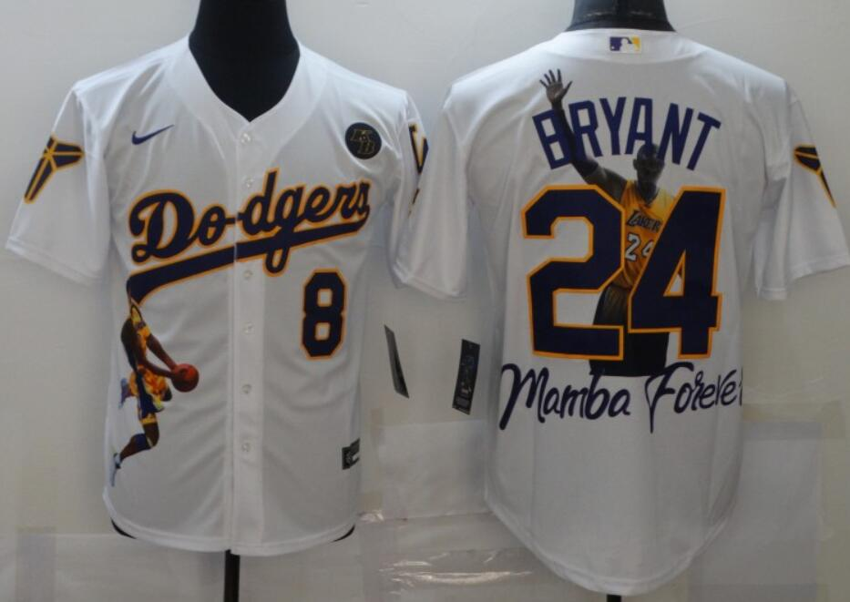 Men's Los Angeles Dodgers Front #8 Back #24 Kobe Bryant White With KB Patch Cool Base Stitched MLB Fashion Jersey