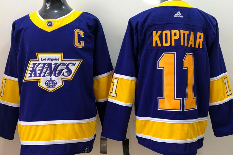 Men's Los Angeles Kings #11 Anze Kopitar Purple 2020-21 Reverse Retro Alternate Adidas Stitched NHL Jersey