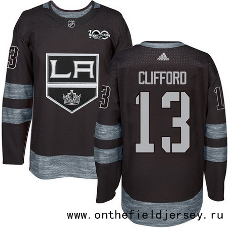 Men's Los Angeles Kings #13 Kyle Clifford Black 100th Anniversary Stitched NHL 2017 adidas Hockey Jersey