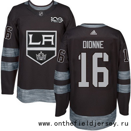 Men's Los Angeles Kings #16 Marcel Dionne Black 100th Anniversary Stitched NHL 2017 adidas Hockey Jersey