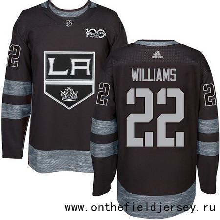 Men's Los Angeles Kings #22 Tiger Williams Black 100th Anniversary Stitched NHL 2017 adidas Hockey Jersey