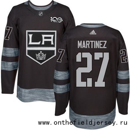 Men's Los Angeles Kings #27 Alec Martinez Black 100th Anniversary Stitched NHL 2017 adidas Hockey Jersey