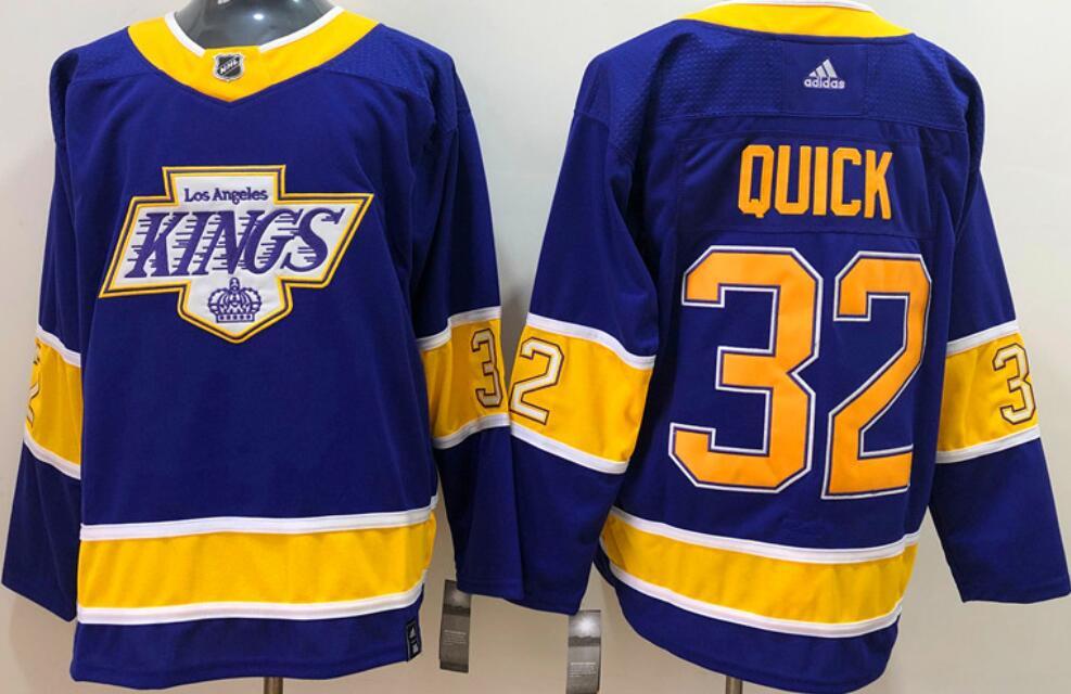 Men's Los Angeles Kings #32 Jonathan Quick Purple 2020-21 Reverse Retro Alternate Adidas Stitched NHL Jersey
