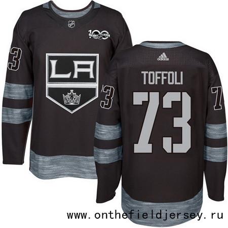 Men's Los Angeles Kings #73 Tyler Toffoli Black 100th Anniversary Stitched NHL 2017 adidas Hockey Jersey
