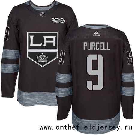 Men's Los Angeles Kings #9 Teddy Purcell Black 100th Anniversary Stitched NHL 2017 adidas Hockey Jersey