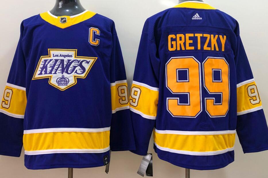 Men's Los Angeles Kings #99 Wayne Gretzky Purple 2020-21 Reverse Retro Alternate Adidas Stitched NHL Jersey