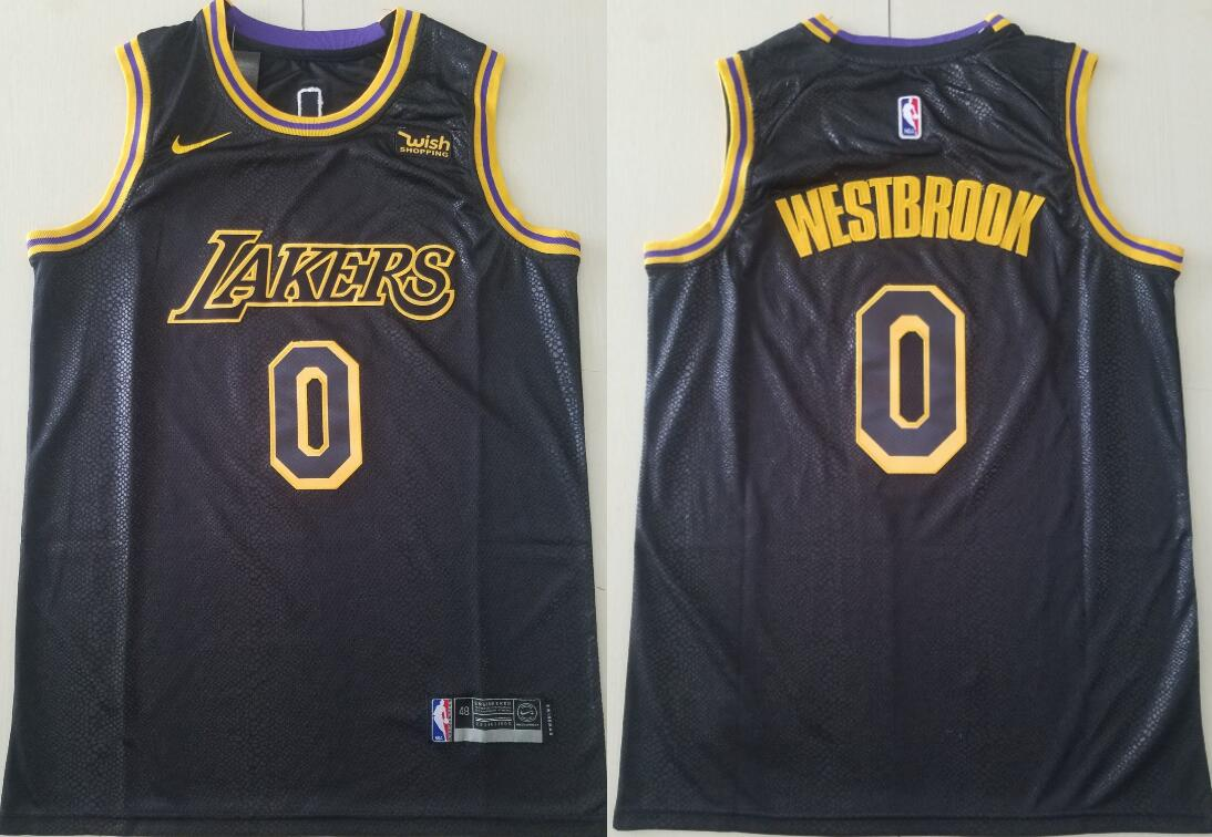 Men's Los Angeles Lakers #0 Russell Westbrook Black City Edition Stitched NBA Swingman Jersey