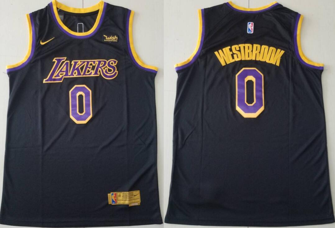 Men's Los Angeles Lakers #0 Russell Westbrook Mamba Earned Black 2021 Stitched NBA Swingman Jersey
