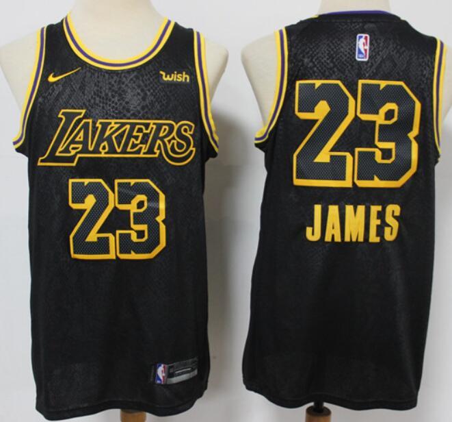 Men's Los Angeles Lakers #23 LeBron James Black NEW 2021 City Edition Nike Wish Swingman Stitched NBA Jersey