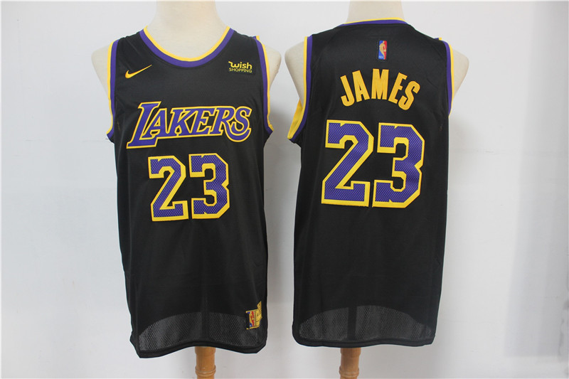 Men's Los Angeles Lakers #23 LeBron James Black Nike Swingman 2021 Earned Edition Stitched Jersey With NEW Sponsor Logo