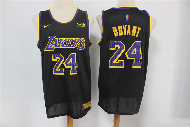 Men's Los Angeles Lakers #24 Kobe Bryant Black Nike Swingman 2021 Earned Edition Stitched Jersey With NEW Sponsor Logo