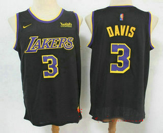 Men's Los Angeles Lakers #3 Anthony Davis Black Nike Swingman 2021 Earned Edition Stitched Jersey With NEW Sponsor Logo