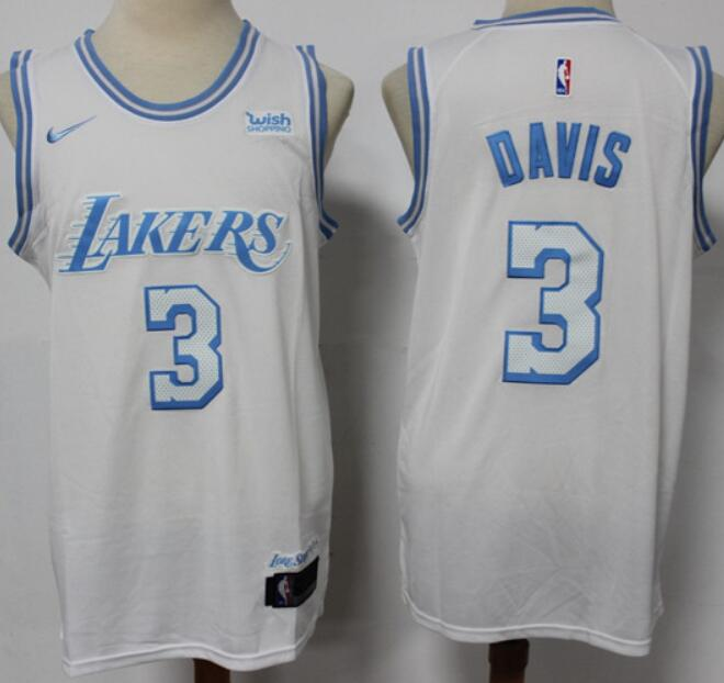 Men's Los Angeles Lakers #3 Anthony Davis White NEW 2021 Nike Wish City Edition Stitched Jersey