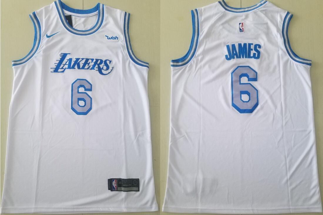 Men's Los Angeles Lakers #6 Lebron James Association Edition White 2021 Stitched NBA Swingman Jersey