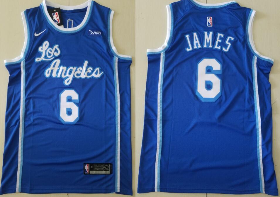 Men's Los Angeles Lakers #6 Lebron James Blue Classic Edition 2021 Stitched NBA Swingman Jersey