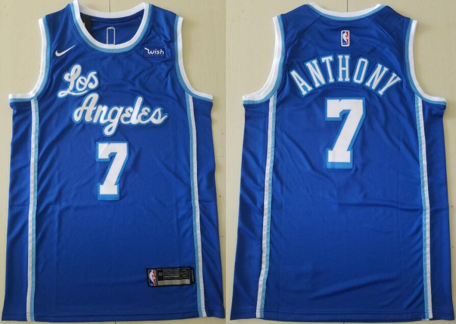 Men's Los Angeles Lakers #7 Carmelo Anthony Blue Classic Edition 2021 Stitched NBA Swingman Jersey