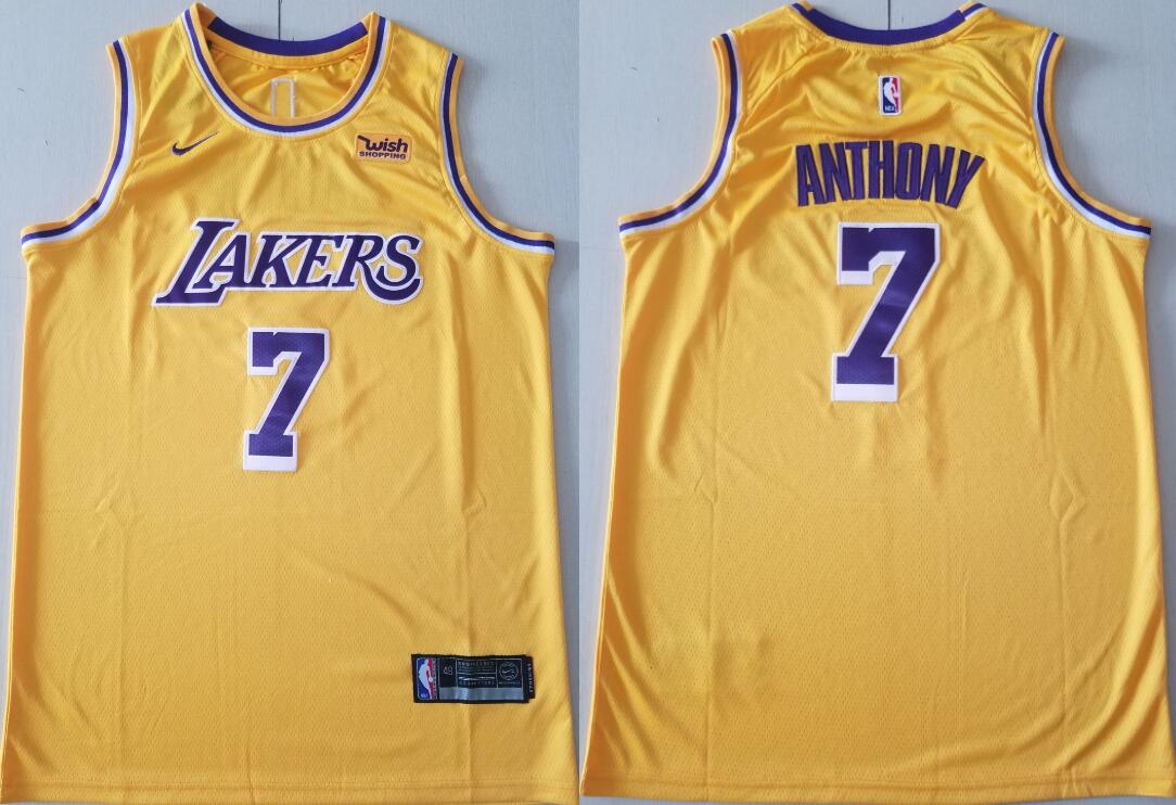 Men's Los Angeles Lakers #7 Carmelo Anthony Icon Edition Gold 2021 Stitched NBA Swingman Jersey