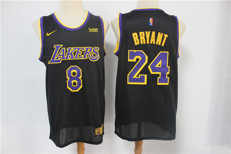 Men's Los Angeles Lakers #8 #24 Kobe Bryant Black Nike Swingman 2021 Earned Edition Stitched Jersey With NEW Sponsor Logo