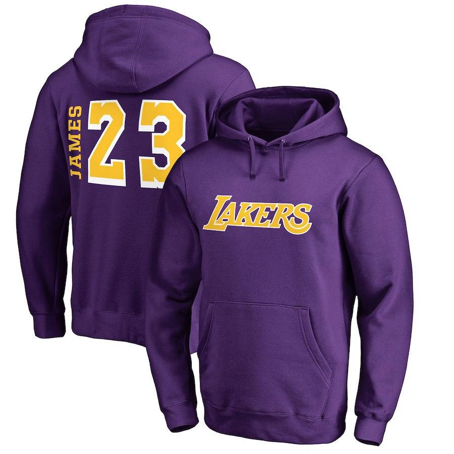 Men's Los Angeles Lakers Fanatics #23 LeBron James Purple Primary Team Name Pullover Hoodie