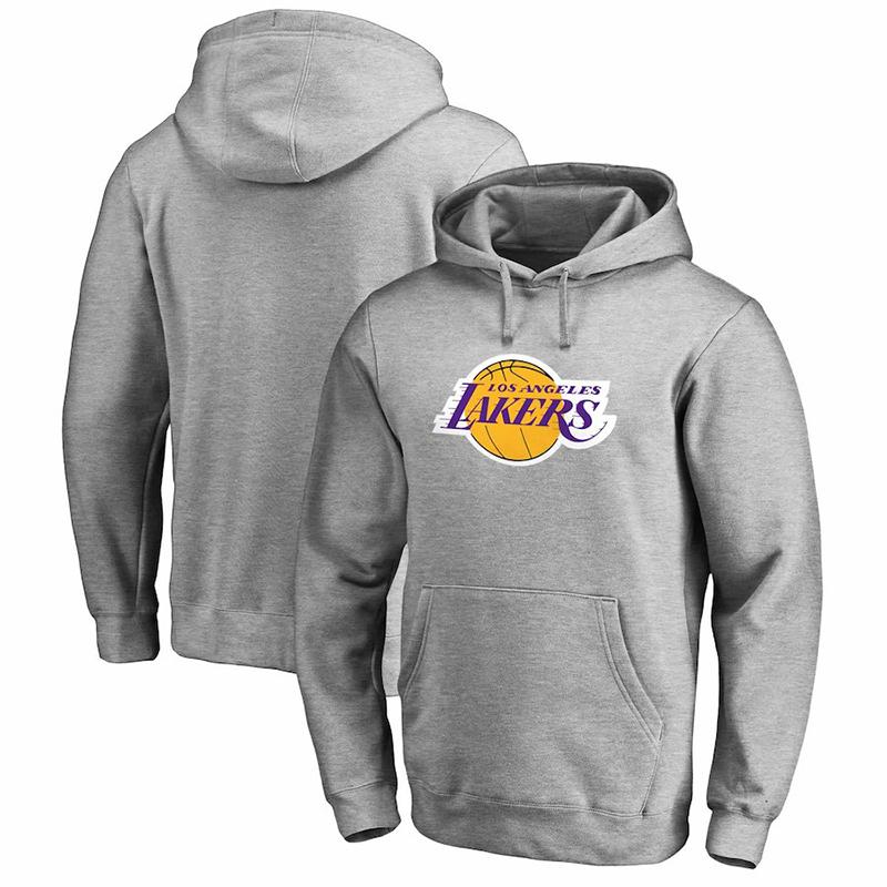 Men's Los Angeles Lakers Fanatics Blank Gray Primary Team Logo Pullover Hoodie
