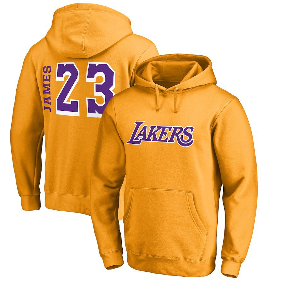 Men's Los Angeles Lakers Fanatics Branded #23 LeBron James Yellow Gold Primary Team Name Pullover Hoodie