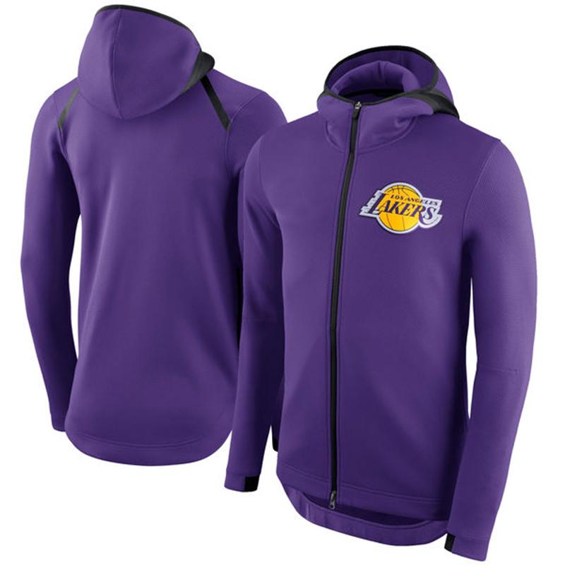Men's Los Angeles Lakers Nike Showtime Therma Flex Performance Full-Zip Hoodie –purple
