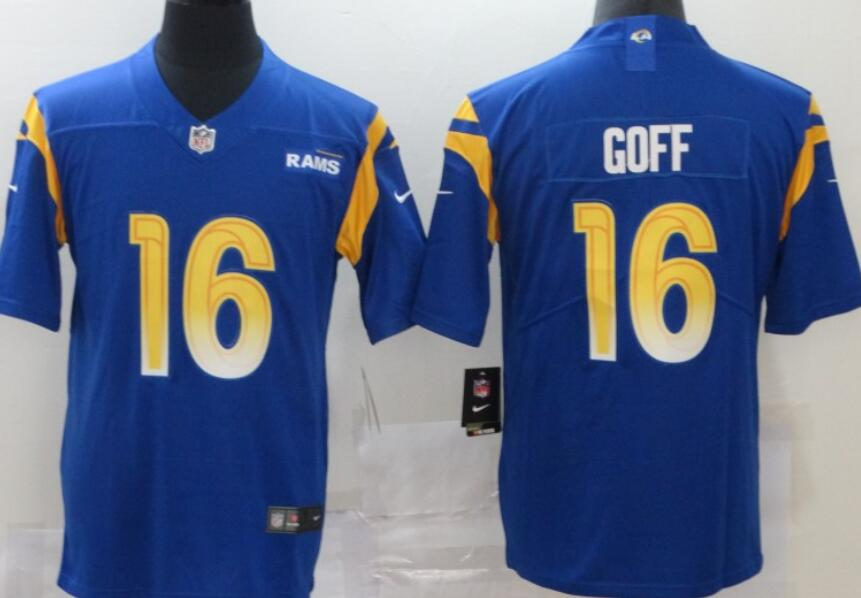 Men's Los Angeles Rams #16 Jared Goff Royal Blue 2020 New Vapor Untouchable Stitched NFL Nike Limited Jersey
