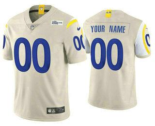 Men's Los Angeles Rams Customized Cream Bone 2020 New Vapor Untouchable NFL Stitched Limited Jersey