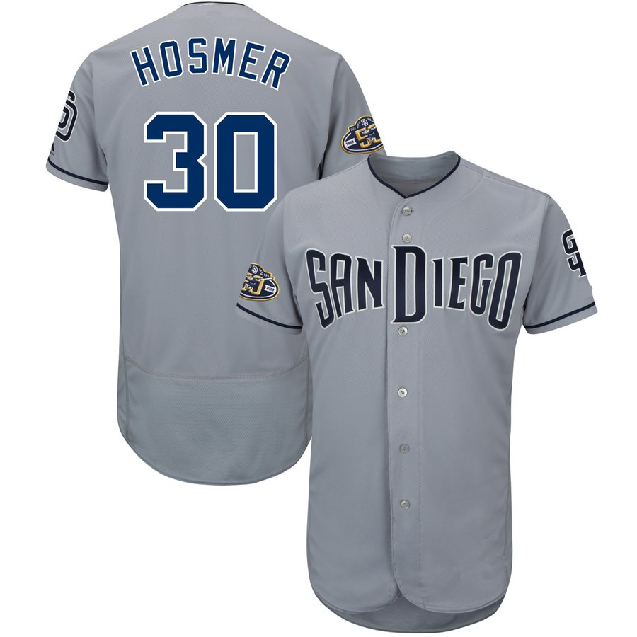 Men's Majestic #30 Eric Hosmer Gray San Diego Padres 50th Anniversary Road Flex Base Player Jersey