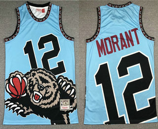 Men's Memphis Grizzlies #12 Ja Morant Light Blue Big Face Mitchell Ness Hardwood Classics Soul Swingman Throwback Jersey
