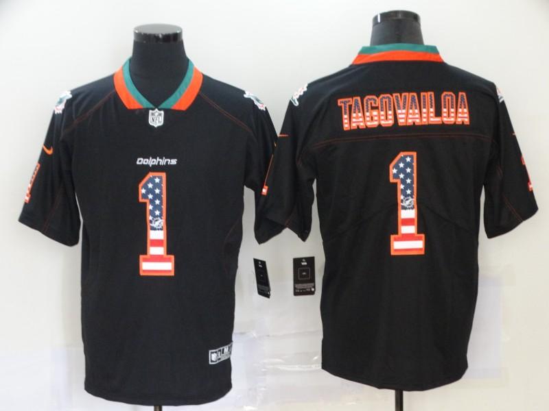 Men's Miami Dolphins #1 Tua Tagovailoa 2020 USA Flag Fashion Black Color Rush Stitched Nike Limited Jersey