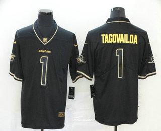 Men's Miami Dolphins #1 Tua Tagovailoa Black 100th Season Golden Edition Jersey