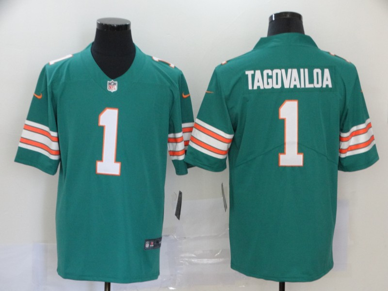 Men's Miami Dolphins #1 Tua Tagovailoa Green 2020 Color Rush Stitched NFL Nike Limited Jersey