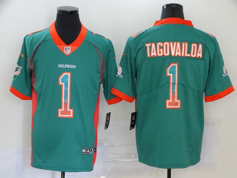 Men's Miami Dolphins #1 Tua Tagovailoa Green 2020 Fashion Drift Color Rush Stitched NFL Nike Limited Jersey