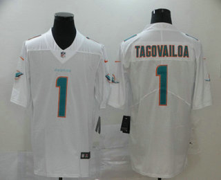 Men's Miami Dolphins #1 Tua Tagovailoa White 2020 Vapor Untouchable Stitched NFL Nike Limited Jersey