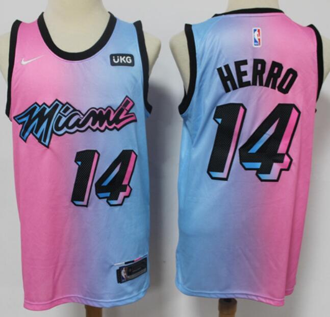 Men's Miami Heat #14 Tyler Herro Pink Blue 2021 Nike City Edition Swingman Jersey