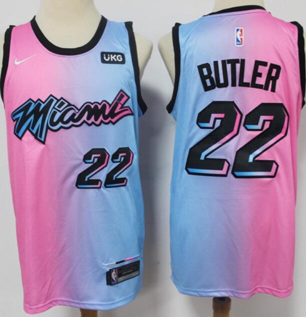 Men's Miami Heat #22 Jimmy Butler Pink Blue 2021 Nike City Edition Swingman Jersey