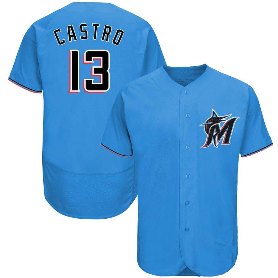 Men's Miami Marlins #13 Starlin Castro Majestic Blue Thunder Alternate 2019 Authentic Collection Flex Base Player Jersey