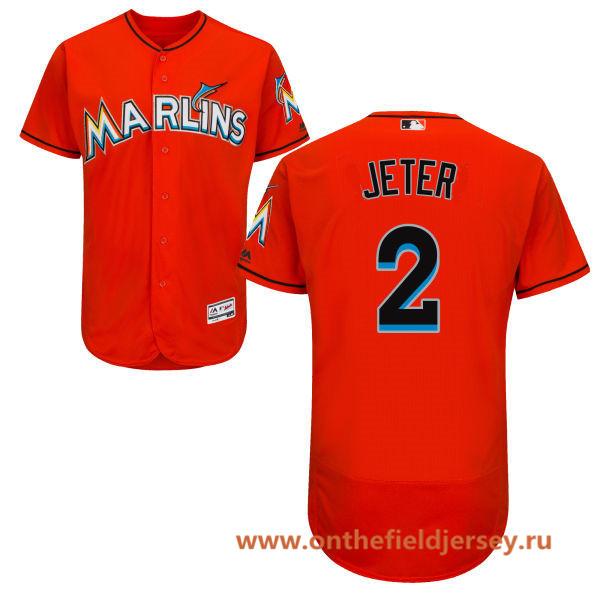 Men's Miami Marlins #2 Derek Jeter Orange Alternate Stitched MLB Majestic Flex Base Jersey