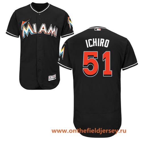 Men's Miami Marlins #51 Ichiro Suzuki Black Alternate Stitched MLB Majestic Flex Base Jersey