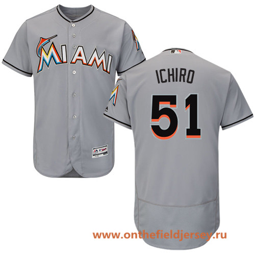 Men's Miami Marlins #51 Ichiro Suzuki Gray Road Stitched MLB Majestic Flex Base Jersey