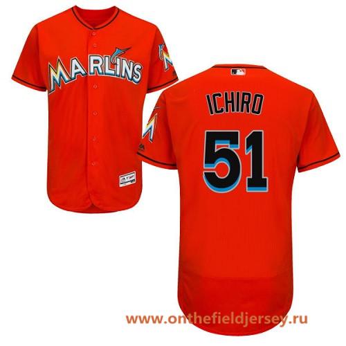Men's Miami Marlins #51 Ichiro Suzuki Orange Alternate Stitched MLB Majestic Flex Base Jersey
