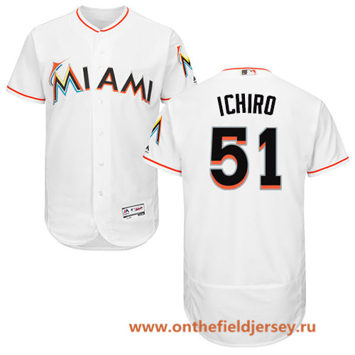 Men's Miami Marlins #51 Ichiro Suzuki White Home Stitched MLB Majestic Flex Base Jersey