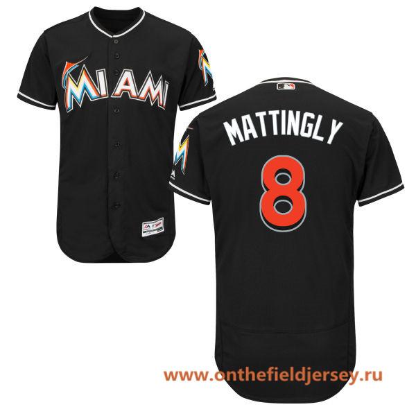 Men's Miami Marlins #8 Don Mattingly Black Alternate Stitched MLB Majestic Flex Base Jersey
